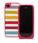 Kate Spade Premium Silicone Candy Shop Stripes  Case for iPhone 4 (Style 02013-0)